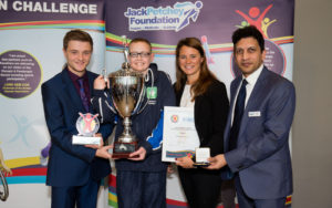 Scott Pope (far left) presents Ethan-Beau with his trophy © Andrew Fosker / Seconds Left Images for Panathlon