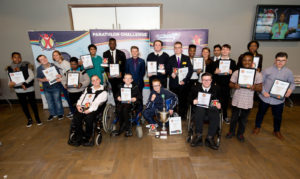 Group Shot of all the winners The Panathlon Challenge - Jack Petchey Outstanding Achievement Awards 2016 - John Lewis - Stratford - London - 23/11/2015 © Andrew Fosker / Seconds Left Images for Panathlon